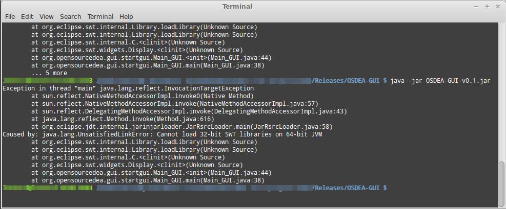 Open Source DEA / OSDEA - Troubleshoot Terminal Wrong SWT Library